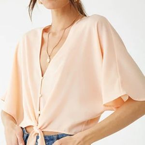 Peach Boxy V-Neck Top